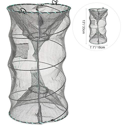 RUNACC Folded Fishing Net Trap, Portable Zipper Bait for Shrimp Carp Crayfish Crab Baits Cast Mesh Trap, 23.6 x11.8 inches (13' x 7.1')
