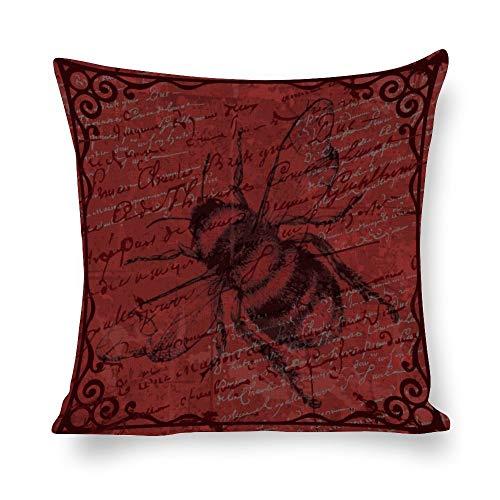Funda de almohada de lino blanco con impresión de doble cara, impresión de abeja negra, patrón de letra roja, cuadrada, para dormitorio, sofá con cremallera invisible, fundas de cojín de 45,7 x 45,7 cm