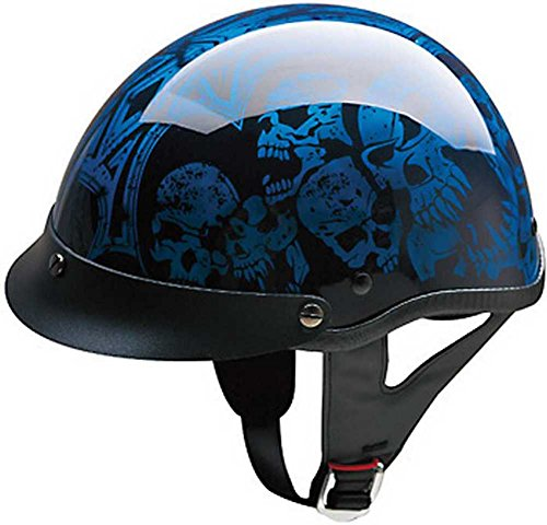 HCI Blue/Black Screaming Skulls Half Helmet with Visor - ABS Shell 100-108 (Lg)