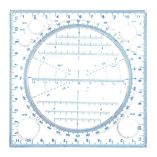 WANMEI Regla de dibujo multifuncional, Springhall Ángulo y Círculo Fabricante Dibujo Geométrico Plantilla de Dibujo Regla de Medición Multiusos Herramienta de Dibujo para Oficina y Escuela