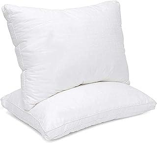 "MASTERTEX Down Alternative Pillow 100% Cotton Top Bed Pillow with 1.5"" Gusset 100% Microfiber Filled Pillow Queen 2Pack - VP"