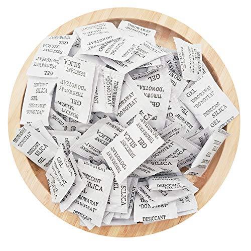 ECYC Packung Mit 60 Silica-Ge-Feuchtigkeits-Trockenmittel-Paketen, Ungiftige Feuchtigkeitsabsorberbeutel FüR Kleidung, Lebensmittel, Raum, KüChe (3g/Pack)