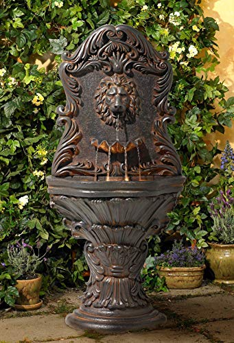 John Timberland Acanthus Antiqued Outdoor Wall Water Fountain with LED Light 50' Floor Imperial Lion for Garden Yard