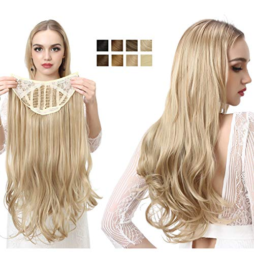 Clip in on Hair Pieces for Women U Part Synthetic Hair Extensions Full Head Long Curly Wave Beach Blonde 24 Inch SARLA UH17&613#