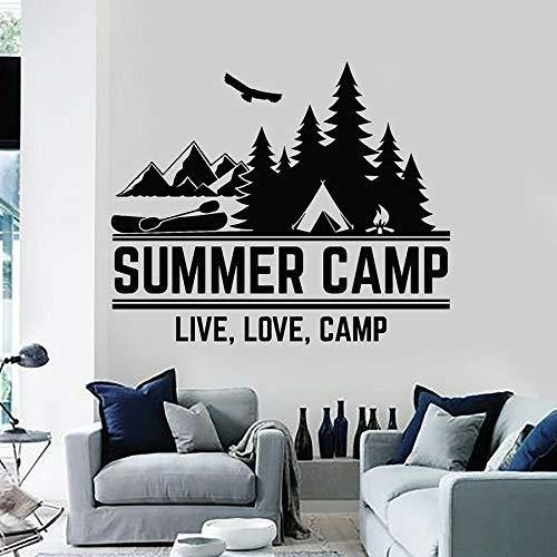 Campamento de verano Amor Camping al aire libre Logotipo Aventura Montaña Naturaleza Bosque Barco Laker Etiqueta de la pared Calcomanía de vinilo Dormitorio Sala de estar Club Estudio Decoración