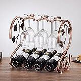 Soporte para Estante de Vino Vasos para Beber Colgante de Hierro de Bronce Estante para Copas multifunción Estante para Botella de Vino y portavasos de Vidrio Pantalla