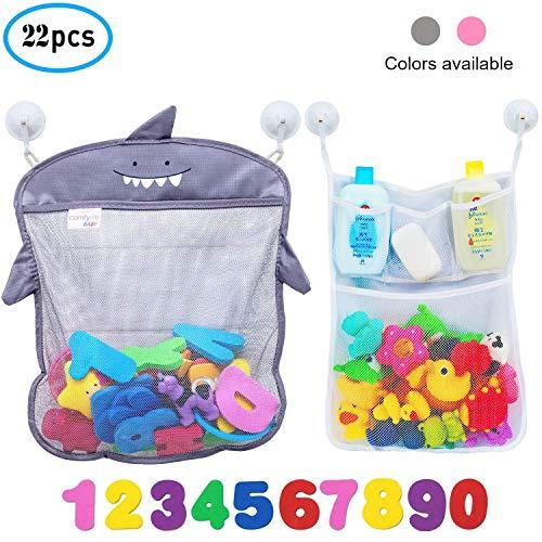 Comfylife Baby Bath Toy Organizer - Shark (2 Bath Toy Storage Nets, 10 Toy Numbers & 10 Strong Hooks) - Great Bath Net for Kids - Cute Bathtub Toy Organizer and Bath/Shower Caddy Storage Solution