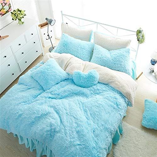 ESUHUANG White Blue Pink Purple Mink Velvet Girls Bedding Set Warm Soft Berber Fleece Duvet Cover Bed Linen/Sheet Bed Skirt Pillowcases (Color : 4, Size : Twin Size 3pcs)