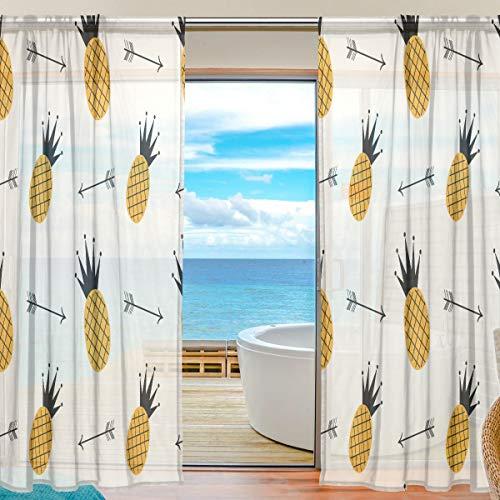 Mnsruu Cortinas de Ventana Transparentes para la Sala de Estar Dormitorio Flechas de piña Negras y Amarillas Juego de 2 Paneles de Cortina de poliéster Impreso de Gasa Impresa, 213x140cm