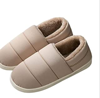 Couple Cotton Slippers Winter Women's Bag with Slippers Composite Sponge Shoes Home Indoor Cotton Slippers Slippers Anti-Skid Indoor Cosy Shoes (Color : Khaki, Size : 42-43)
