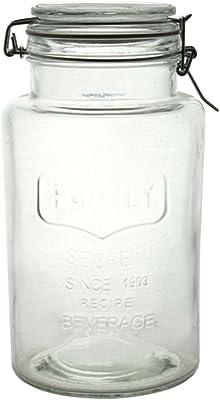リビング 保存容器 キャニスター ガラス Mサイズ 目安容量約 2.0L 径12.2×高さ23.3cm クリア アーモンド