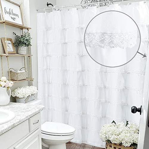 WestWeir Ruffle Shower Curtain - Farmhouse Bathroom,72 inches Long White (Fabric Cloth)