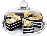 Bandejas para tartas Pastel de soporte blanco simple, bandeja de fruta dulce de boda que comienza con platos de cerámica Cubierta de alimentos de almacenamiento de la cúpula de sushi a prueba de polvo