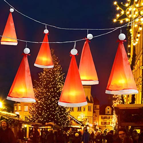 Weihnachten Dekoration Beleuchtet Weihnachtsmütze, 6 Stück Hängend Fee Weihnachten Hut Wasserdicht Lichterketten 8,2 Füße 18 LEDs, USB oder Batteriebetrieben, Leuchtende Licht Dekor für Haus, Garten