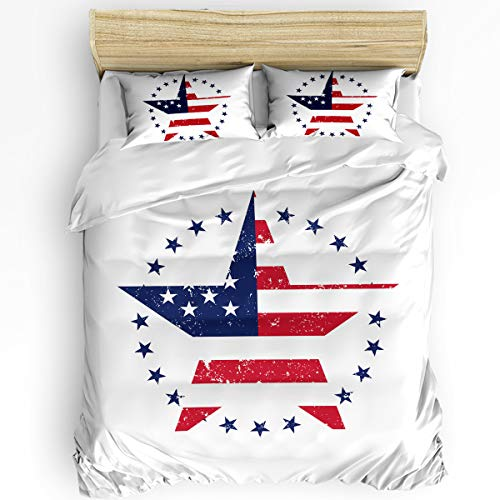 3 Piece Bedding Sets King American Flag Stars and Striped Decorative Duvet Quilt Cover Set for Childrens/Kids/Teens/Adults,1 Quilt Cover with 2 Pillow Case, Independence Day
