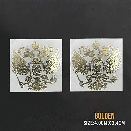 N\A Adesivo per auto PITREW Stemma della Russia Nickel Metal Adesivi Auto Decalcomanie Federazione Russa Eagle Emblema per Auto Styling Adesivi per Auto (Nome Colore: XS Oro 2PCS, Dimensioni: 1 pezzo)