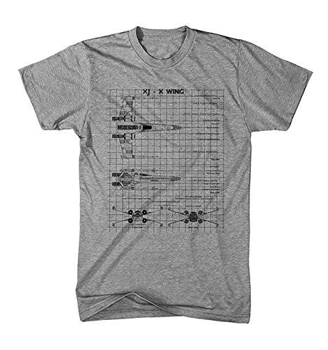 Camiseta Hombre X-Wing Plano Star Movie Wars Cine - Graumeliert, M