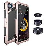 4 In 1 Phoneカメラレンズキット198魚眼レンズ0.63X広角15XマクロレンズIphone X Xs 6 6S 7 8プラスメタルケース、ローズゴールド、Iphone 6 6Splus用、ケース&ストラップ