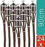 24 Gartenfackel Bambusfackel 90 cm Set Mahagoni Farbe mit Docht I Bambus Ölfackel I Fackel für Garten