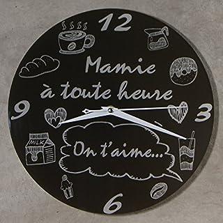 Horloge Je t'aime Mamie – Cadeau original pour Papi et Mamy – Fête des Grands mères, Anniversaire, Noël.)