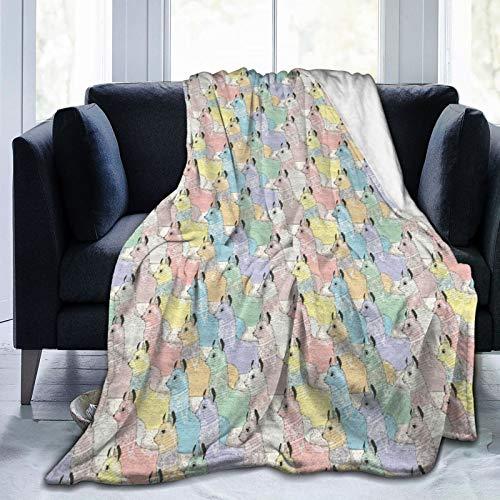 YOLIKA Throw Blanket Lightweight Ultra-Soft,Little Alpacas Soft Toned Camel Animal Kids Nursery Folkloric Print,Living Room/Bedroom/Sofa Couch Bed Flannel 4 Seasons Quilt,40' x 50'