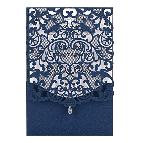 Laser Cut Wedding Invitations Kits 50 Packs FOMTOR Laser Cut Wedding Invitations with Blank Printable Paper and Envelopes for Wedding,Birthday Parties,Baby Shower (Navy Blue)