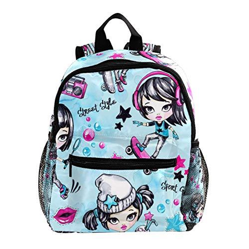 12' Kid Child Girl Cute Patterns Printed Backpack School Bag,Skater Girl