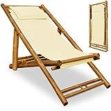 Liegestuhl mit Kopfkissen klappbar - Bambusliege