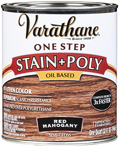 Varathane 225247H One-Step Wood Stain & Polyurethane, Quart, Red Mahogany