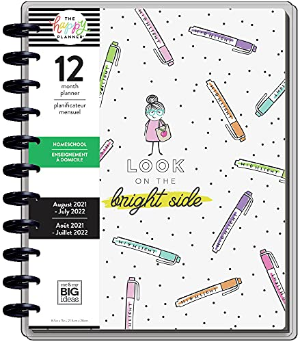 The Happy Planner Big Sized 12 Month Homeschool Planner - Stick Girl Theme - Aug 2021 - July 2022 - Homeschool Layout - Perfect for Virtual Learning - Weekly Monthly Disc-Bound Pages - 10.12