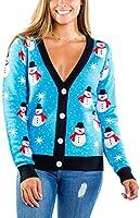Women's Snowman Ugly Christmas Cardigan - Cute Blue Snowman Christmas Sweater Female