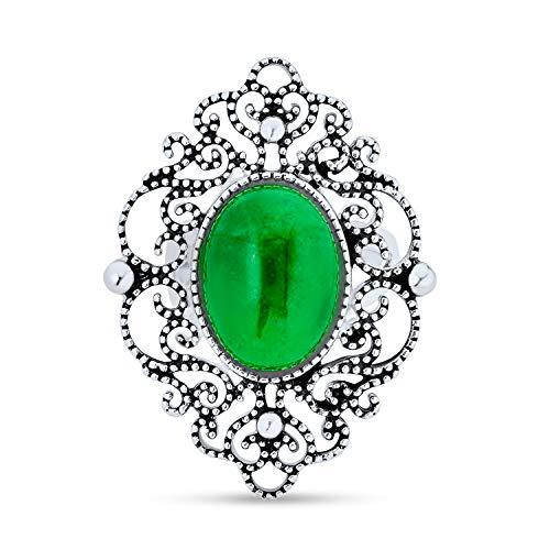 Antiguo Oval Verde Jade Teñido Armor Anillo Largo Filigrana Para Mujer De Anillo De Plata Esterlina 925 Oxidada