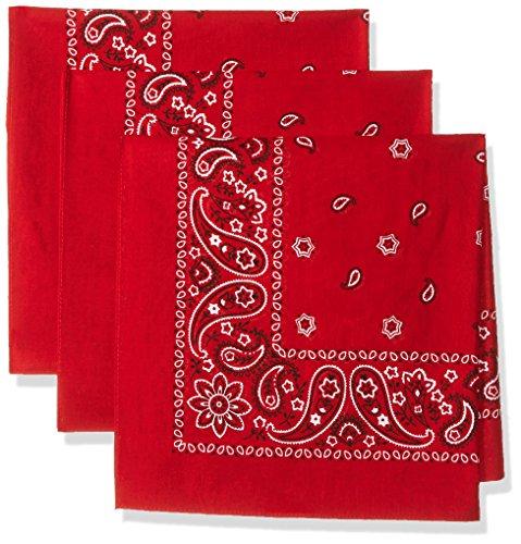 Levi s Men s 100% Cotton Multi-purpose Bandana Gift Sets – Headband  Wrap  Protective Coverage  Red  Pack 3