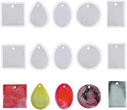 Daimay Jewelry Casting Molds Silicone Pendant Mold Resin Molds with Hanging Hole Jewelry Making DIY Craft Tools - 10 Packs – 5 Styles