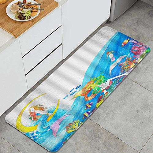 PATINISA Tappetini da Cucina,Pittura dell'acquerello della barriera corallina dei pesci tropicali della leggenda dell'oceano di fantasia,Antiscivolo Tappeto Passatoia Lavabile tappetino 120x45cm