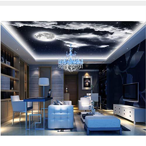 Meaosy Benutzerdefinierte Deckentapete, Der Nachthimmel Mond Für Wohnzimmer Schlafzimmer Deckenwand Wasserdicht-120X100Cm
