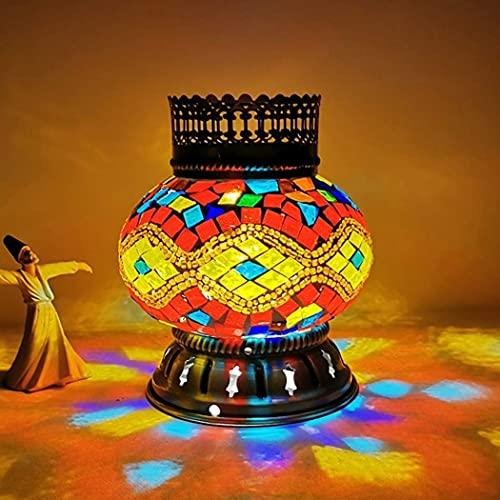Mini lámpara de mesa turca, hecha a mano, mosaico de cristal de estilo marroquí, lámpara de mesa de estilo Tiffany, iluminación nocturna para dormitorio, salón, cafetería, funciona con pilas, D
