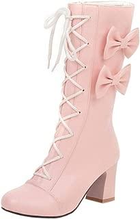 TAOFFEN Cute Women Bowtie High Heels Autumn Booties