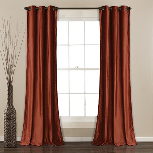 "Lush Decor Prima Velvet Curtains Color Block Room Darkening Window Panel Set for Living, Dining, Bedroom (Pair), 84"" L, Rust"