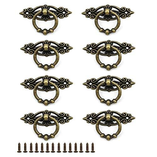 8 Piezas Anillo de Color Bronce Antiguo Tirador, Tiradores de anilla para Armario, Pomos Y Tiradores Vintage, 64mm*25mm, para Cocina, Sala de Estar, Dormitorio, Oficina (Bronce)