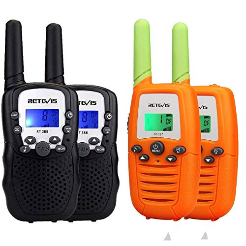 Retevis RT-388 Kids Walkie Talkies 22 Channels 2 Way Radio for Kids Toys(Black,2 Pack) and Retevis RT37 Kids Gifts Toys Walkie Talkie for Boys Girls,Children Gifts to Outdoor Games(Orange,2 Pack)
