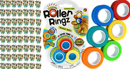 Magnetic Rings Toys Finger Fidget Toy (144 Sets, 3 Rings Each) Anti-Stress Fingers Rings Magnetic Spinning Rings for Kids & Adults Anxiety Hand Therapy Sensory Fidget Party Favor & 1 Sticker 3803-144s
