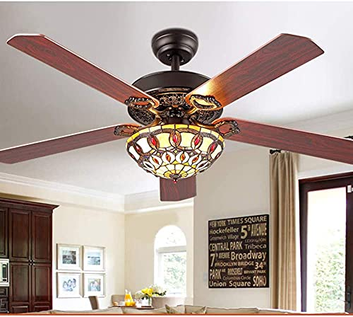 MAMINGBO Ventilador de techo para el hogar con ligero Tiffany Modern Techo Fans LED LED con 5 hojas reversibles de madera para sala de estar/dormitorio/comedor Control remoto 3 Velocidad (bajo, me