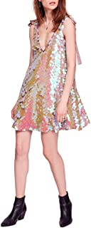 FREE PEOPLE Womens Brown Swing Glitter Disc Sequin Sleeveless V Neck Above The Knee Party Dress US Size: M