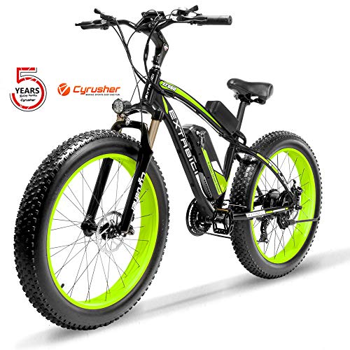 Cyrusher XF660-1000W Electric Bike 26 '' 4.0 Fat Tire Mountain Ebike 48V 17ah bike with Lithium-Ion Battery(Green)