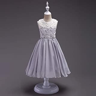 Luxury Summer Children's Clothing Princess Dress Embroidered Princess Tutu Skirt Flower Girl Dress Children Dress Buttons Wedding Dress ryq (Color : Grey, Size : 120cm)