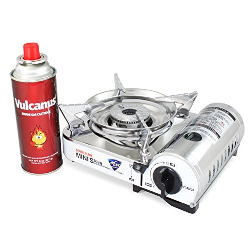 Vulcanus MS-8000 Mini Butane Gas Stove, Stainless Steel top plaet. 9.6