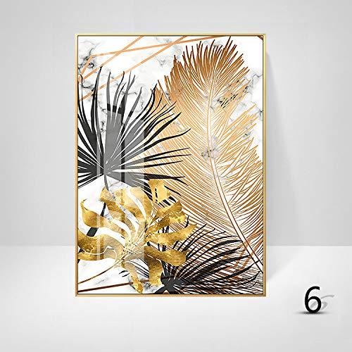 WSNDGWS Sofa achtergrond muurdecoratie schilderij licht eenvoudige plant gouden blad kunst schilderen kern zonder fotolijst 30x40cm F2