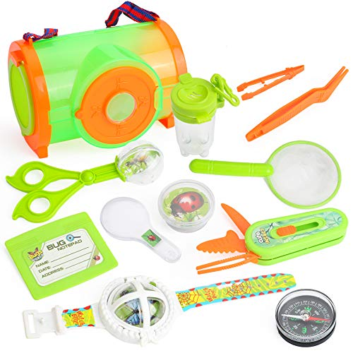 RESTCLOUD Bug Cather Kit for Kids Toys Outdoor Explorer Kit with Butterfly Net, Magnifying Glass, Critter Case Great Toys Kids Gift for Boys and Girls Age 3-12 Year Old Camping Hiking