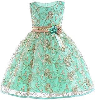 JIANGNIAU Children Wear Girls Gold Silk Embroidery Sleeveless Dress Wedding Dress, Size:110cm(Red) (Color : Apple Green)